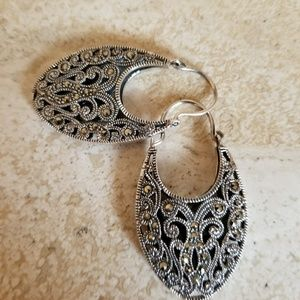 Sterling silver and marcasite dangle earring